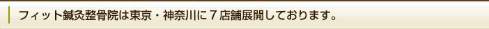 フィット鍼灸整骨院は東京・神奈川に7店舗展開しております。