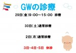 国立院 GWの診療